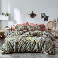 mixinni Vintage Style Garden Flower Duvet Cover Set with Zipper Closure Soft Cotton Flower Pattern on Blue Bedding Quilt Cover Set(Queen,Autumn) Full/Queen Pattern3902