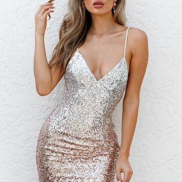 Lustre Dress (Rose Gold/Silver)   Xenia Boutique   Women's fashion for Less - Fast Shipping