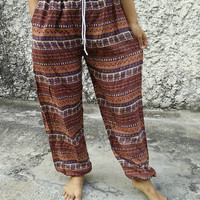 Yoga Pants Boho stripes Hobo Print Trousers Hippies Baggy Styles Gypsy Rayon clothes Tribal Comfy Clothing For Beach Summer Unisex in brown