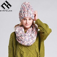 2017 Fashion Knit Winter Scarf Hat Warm Winter Hat For Women Hat Beanies Thick Female Bonnet Scarf Set Women Scarf Comfortable