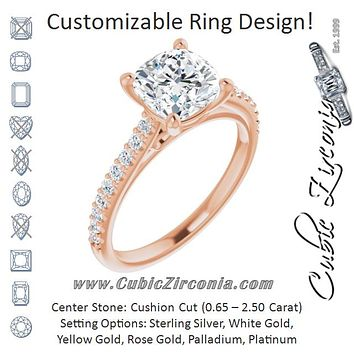 Cubic Zirconia Engagement Ring- The Diane (Customizable Cathedral-raised Cushion Cut Design with Accented Band and Infinity Symbol Trellis Decoration)