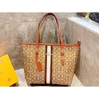 Coach fashion casual lady printed patchwork color stripe shoulder bag shopping bag
