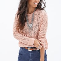FOREVER 21 Crochet Lace Pullover Peach