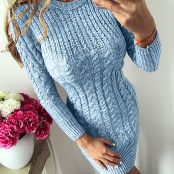 Autumn Winter Warm Women Knitted Sweater Dress Long Sleeve O-neck Sexy Bodycon Party Dress