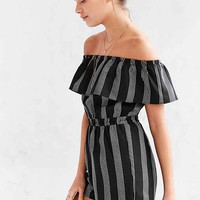 Lucca Couture Striped Off-The-Shoulder Romper