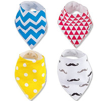 babylegal Baby & Toddler Bandana Bibs Drool - 4 Pack Gift Set cute-blue yellow red white Adjustable Snaps - Unisex - Trendy & Fashionable - 100% Soft Organic Cotton - Super Absorbent Machine Washable