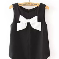 Black Sleeveless Chiffon Blouse with White Bow Tie