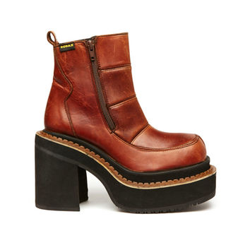 Rave Cloud 90s Brown Leather Club Kid Platform Boot // Size 7