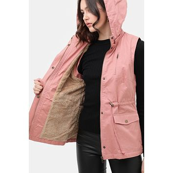 Sherpa-lined Removable Hooded Anorak Vest