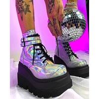 Demonia Holo Silver Stacked Platform