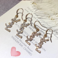 YSL full shining rhinetsone long letter earrings