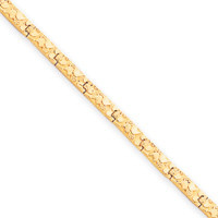 Link Bracelet in 10kt Yellow Gold - Fold Over - Mirror Finish - Marvelous: Size: 7