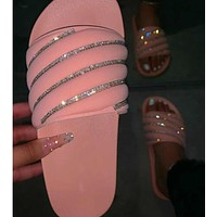 Glitter Rhinestone Ladies Flat with Sexy Pink Shoes