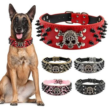 "2"" Wide Spiked Studded Leather Dog Collar"