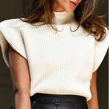 New style hot sale sleeveless high neck fashion shoulder pad sweater