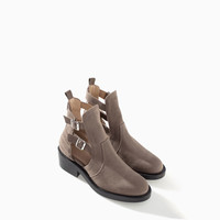 OPEN ANKLE BOOT WITH BUCKLE