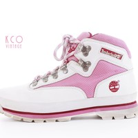 Vintage Timberland Boots Pink and White Leather Lace Up Hiking Sneakers 80's Shoes Women's Size US8.5 UK6.5 EUR39