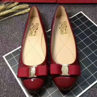 Ferragamo Smooth leather bowknot flat shoes canvas women sandals shoes Wine red G-ALXY