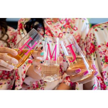 Hot Pink Initial Stemless Champagne Flutes