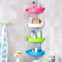 Multi-Strong Sucker Bathroom Racks Kitchen Holder Colorful Wall Mounted Toilet Corner Storage Rack 4 Colors