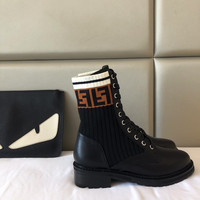 FENDI Logo-jacquard stretch-knit and leather ankle boots