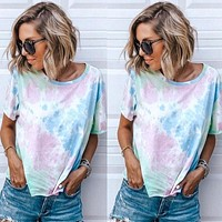 2020 new women's printed tie-dye round neck short sleeve T-shirt