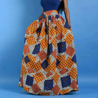 100% cotton wax printed long african skirts for women in african clothing dashiki  kitenge maxi pleated vintage skirt