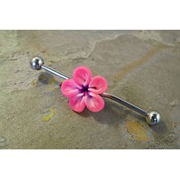 Bright Fuchsia Pink Hawaiian Flower Industrial Bar Barbell Piercing Upper Ear Ring