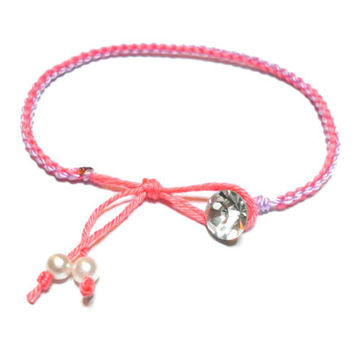 Simple round braided Friendship Bracelets - rhinestones crystal button faux pearl light purple coral string delicate free people inspired