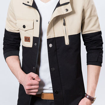Two-tone Patchwork Casual Mens Jacket Black