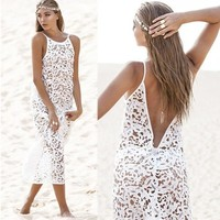 Sexy Women Bikini Cover Up Lace Hobo Lace Swim Suit Swimwear Beach Maxi Dress = 1956462148