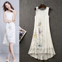 White Flower Printed Sheer Sleeveless Ruched  High-Low Mini  Dress
