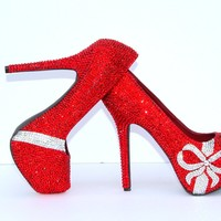 Red Swarovski Crystal Heels with Crystal Bows