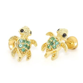 14k Gold Plated Brass Green Turtle Screwback Girls Earrings with Sterling Silver Post