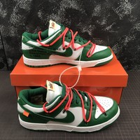 Off White X Futura X Nike Dunk Low Green/ White Sneakers - Best Deal Online