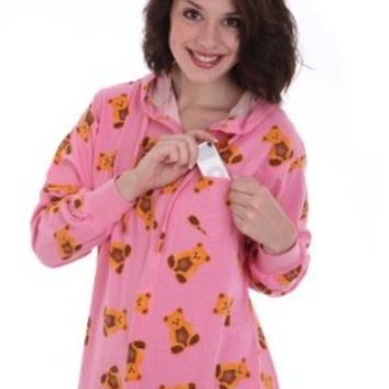 Funzee Adult Onesuit non Footed Pajamas Cute Teddy Bears on Pink Jumpsuit (Medium)