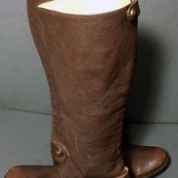 Frye 76430 Melissa Button Back Zip Brown Leather Riding Motorcycle Boots Women's Size 6