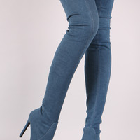 Fitted Denim Pointy Toe Stiletto Over-The-Knee Boots