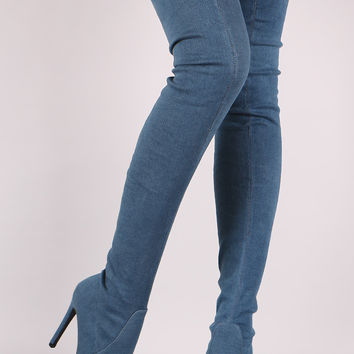 "Fitted Denim Pointy Toe Stiletto Over-The-Knee Boots Knee High Boots Heel Height: 4.5"" Shaft Length: 29.5"" (including heel) Top Opening Circumference: 15"" Blue Denim"