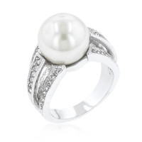 12 Mm Shell Pearl Bridal Ring, size : 11