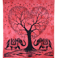 Red Large Tie Dye Elephant  Love Tree Dorm Tapestry Wall Hanging on RoyalFurnish.com
