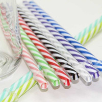 100 Pc/Lot Reusable Biodegradable Distored Color Beverage Hard Plastic Stripe drinking Straws With 1 Free Straw Brush