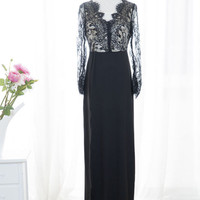 Black Sexy Women Eyelash Lace Long Sleeve Prom Cocktail Party Dress Evening Gown