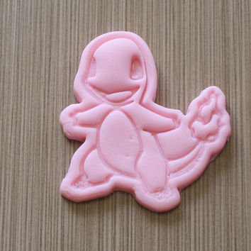 Pokemon Inspired Charmander Cookie Cutter Stamp Set Charizard Pink BPA FREE