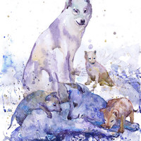 Wolf family , wildlife,  watercolor,  wall decor,  animal art, art print, nursery decor,  Illustration, room decor