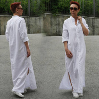 Beach Long Shirt Dress / Long Linen Shirt / Boho Maxi Dress / Plus Size / Kaftan / White Women Shirt / Linen Dress / White Blouses / D20517