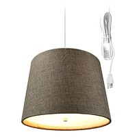 """14""""W 2 Light Swag Plug-In Pendant  Chocolate Burlap with Diffuser White Cord"""