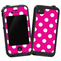 """White Polkadot on Hot Pink """"Protective Decal Skin"""" for LifeProof iPhone 4/4s Case"""