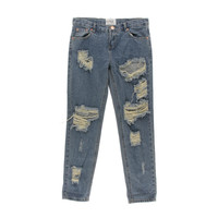 One Teaspoon Womens Destroyed Mid-Rise Skinny Jeans