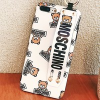 Moschino New fashion letter bear print wrist band couple protective cover phone case White